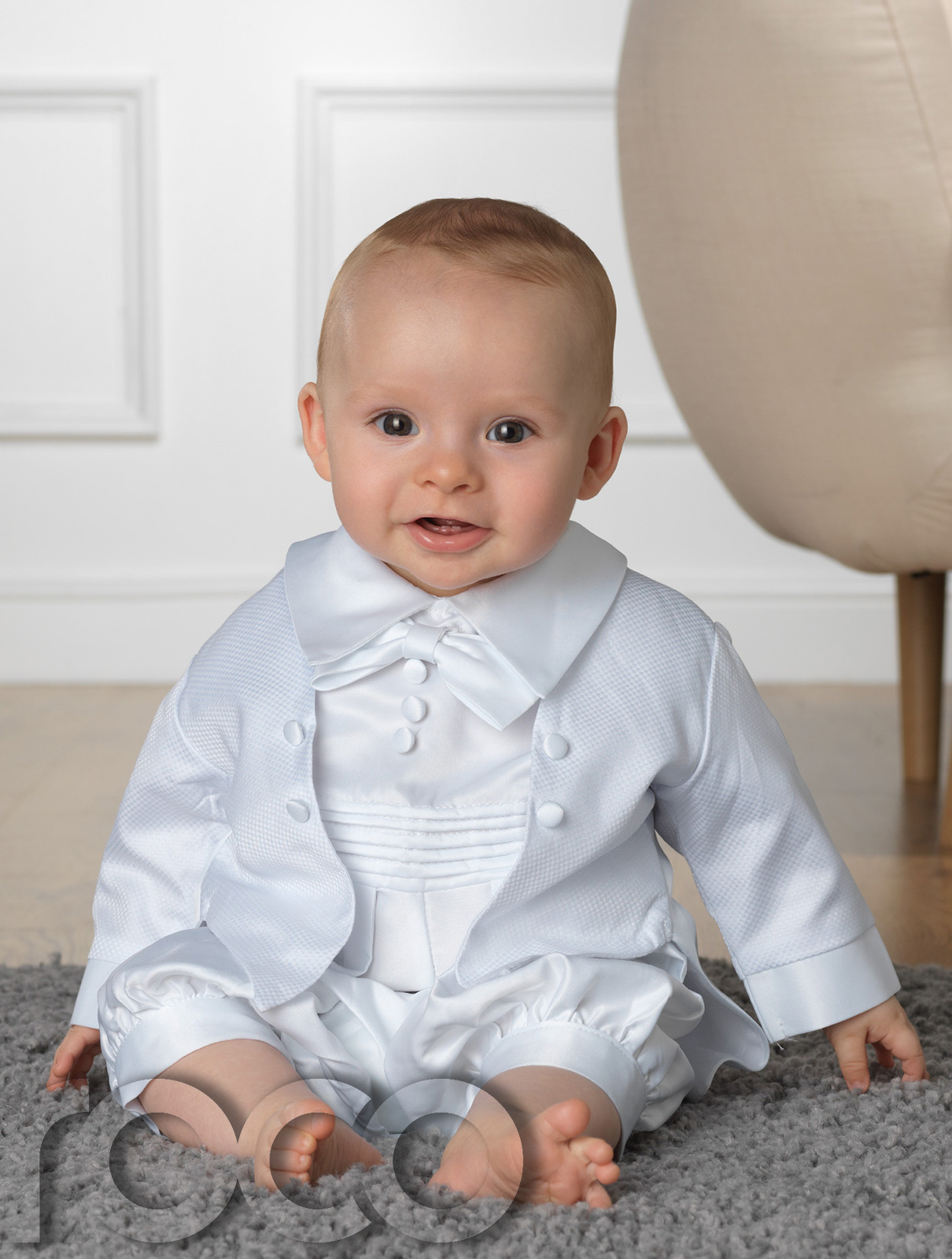 Baby Boys Christening Outfit White Romper Suit White