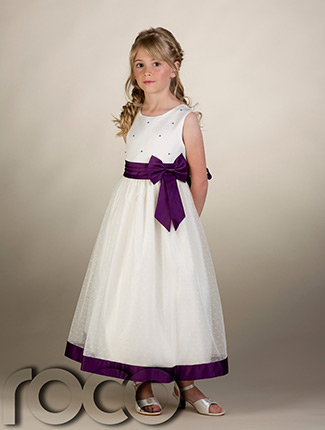 Girls ivory purple flower girl dress ivory bridesmaid for Purple and ivory wedding dress