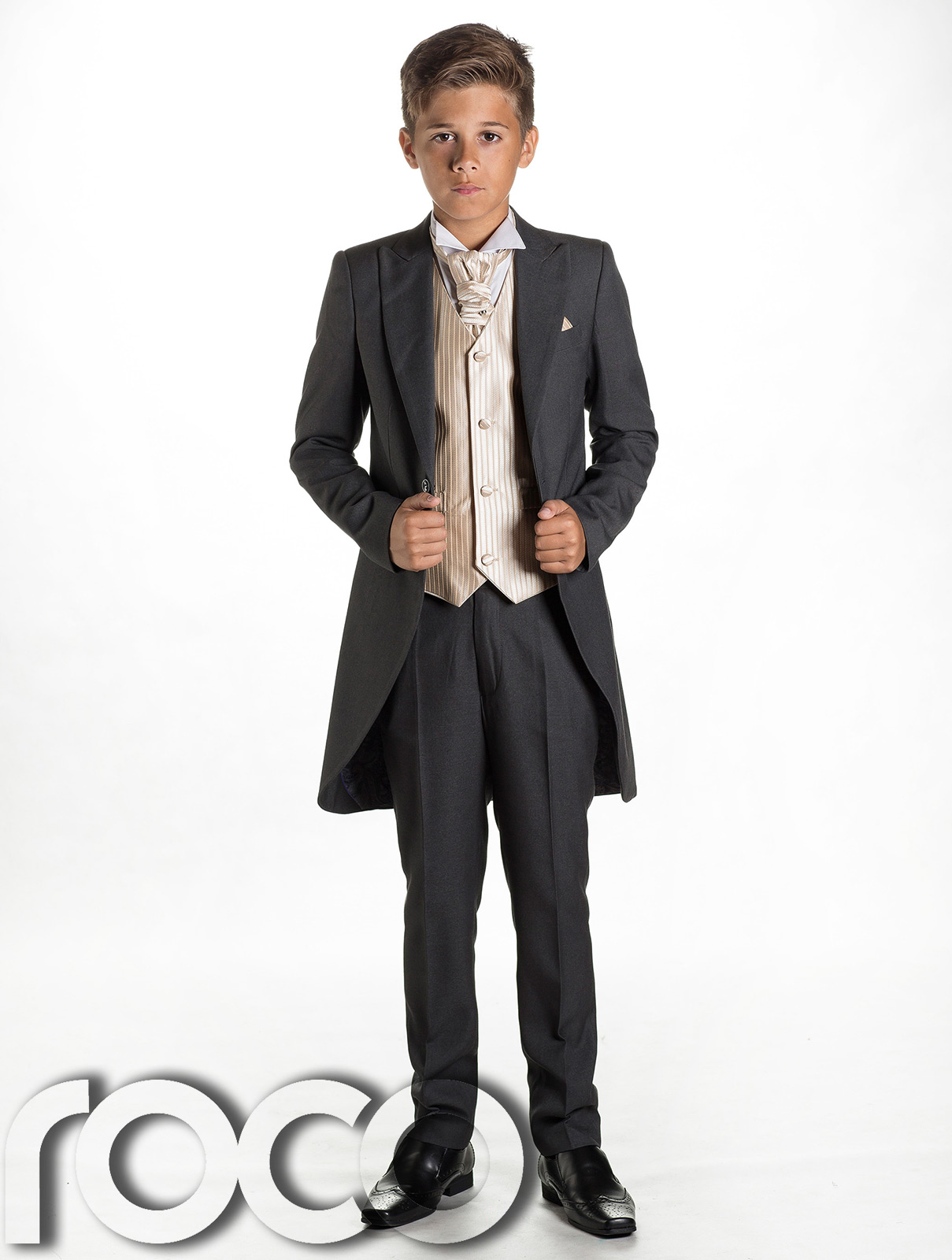 Boys Grey & Gold Tail Suit , Wedding Suits, Page Boy Suits ...