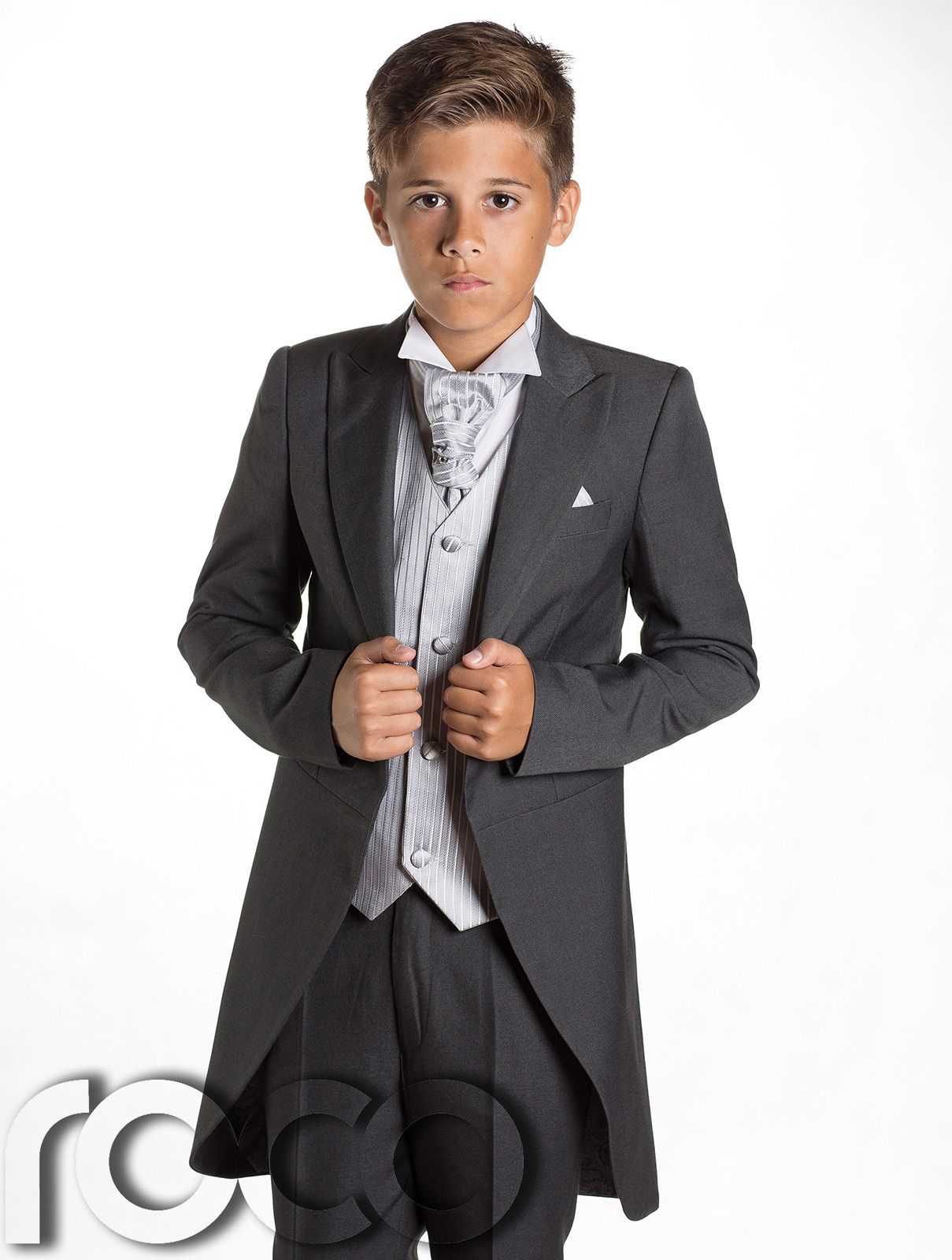 Boys grey silver tail suit wedding suits page boy for Boys dress clothes wedding