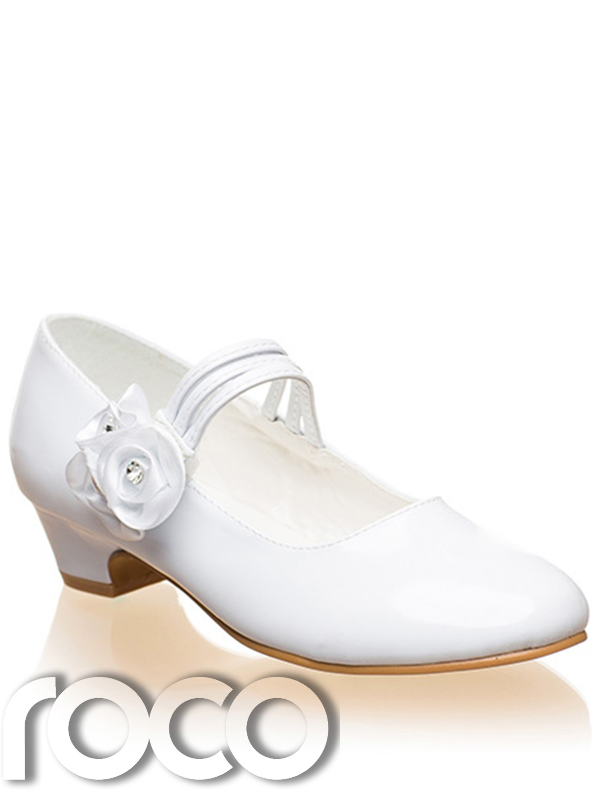 Girls White Shoes Communion Prom Flower