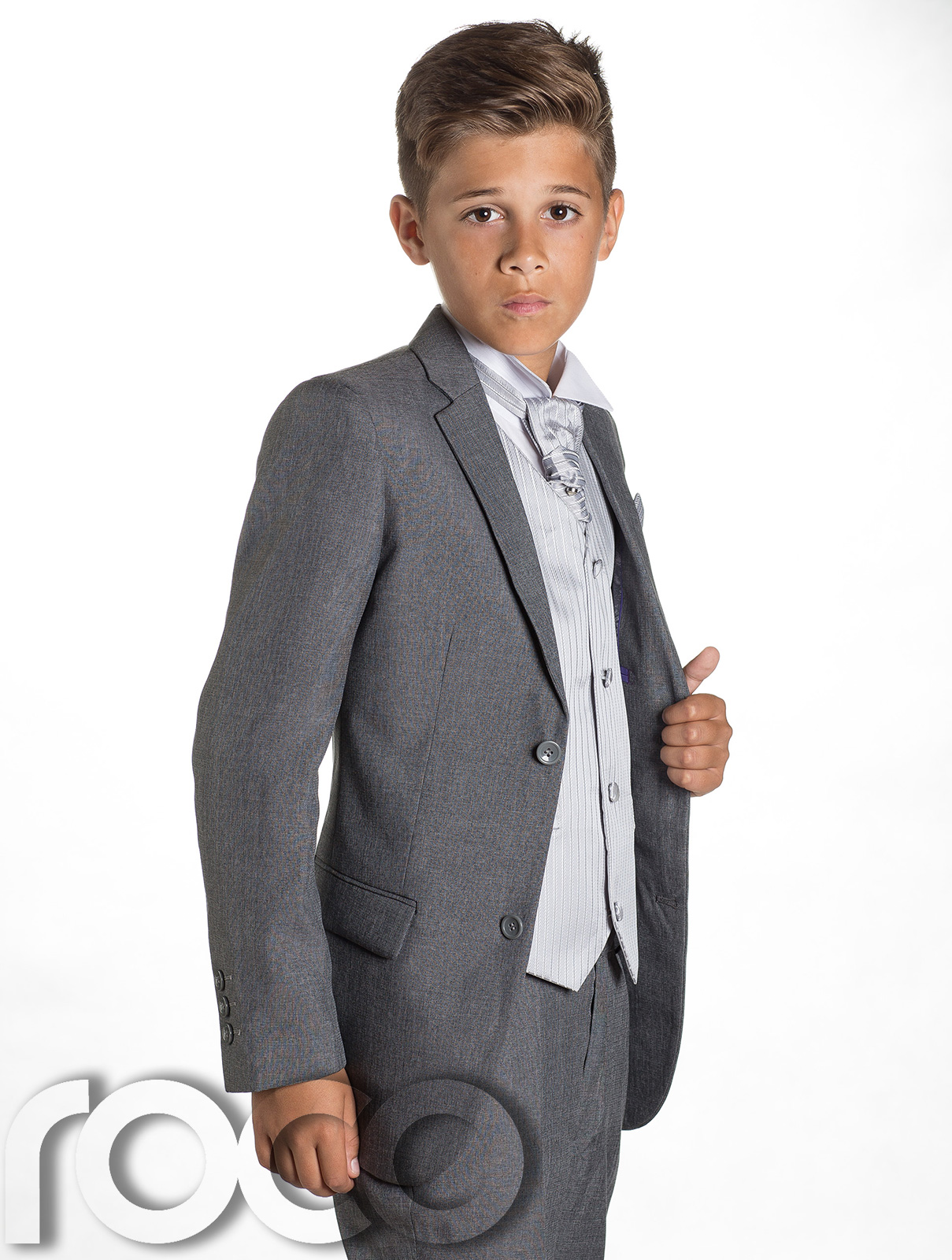 Boys grey suit with silver waistcoat set. Charles 3e5969120