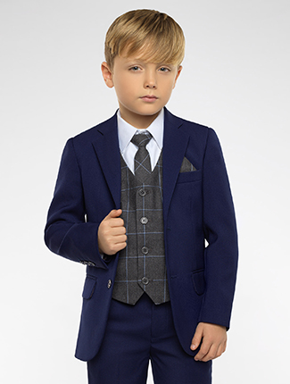 9bb12a763704 Boys blue suit with check waistcoat. Kingsman   Oliver waistcoat