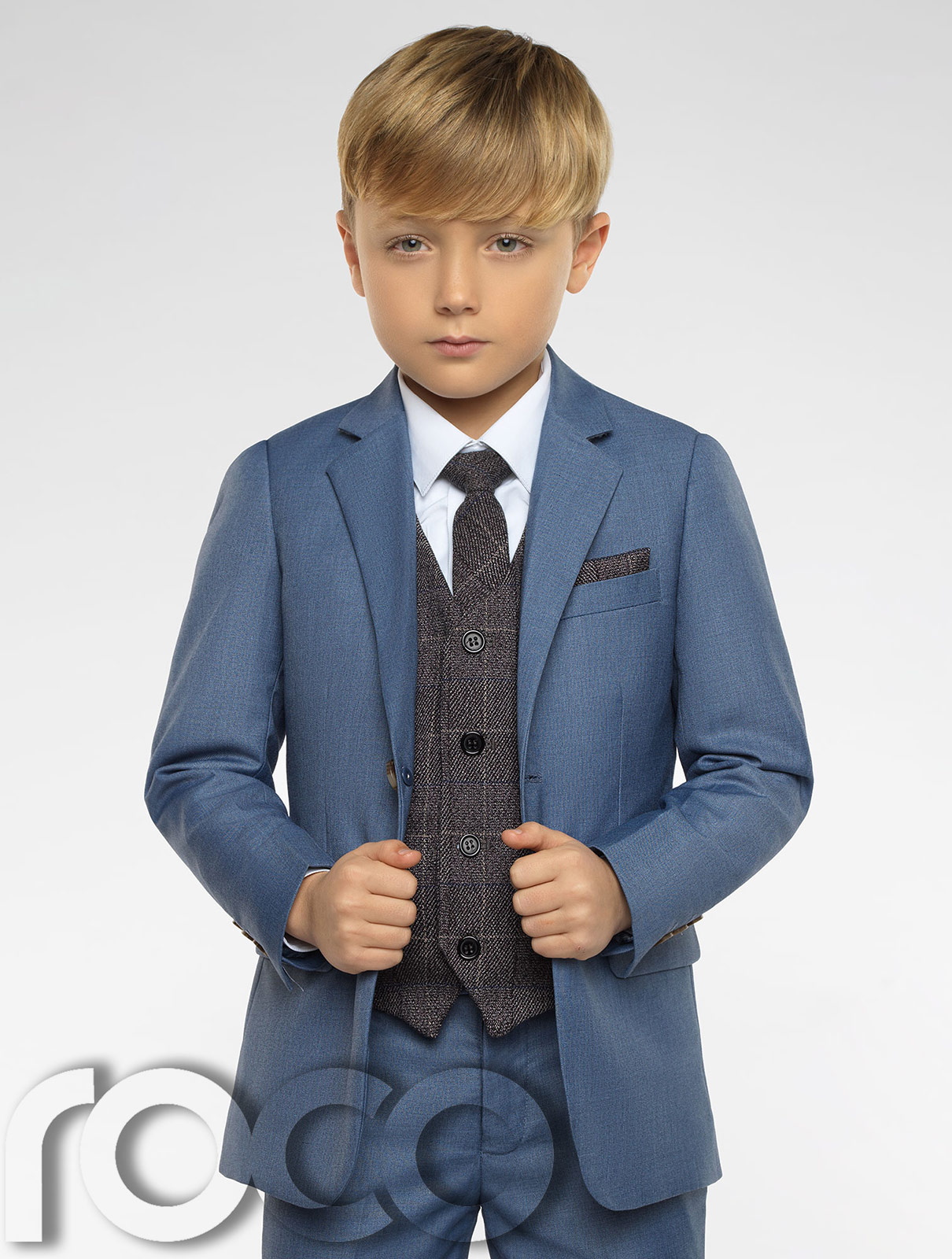 Boys Chambray Suit, Boys Blue Check Waistcoat, Page Boy Suit, Boys ...