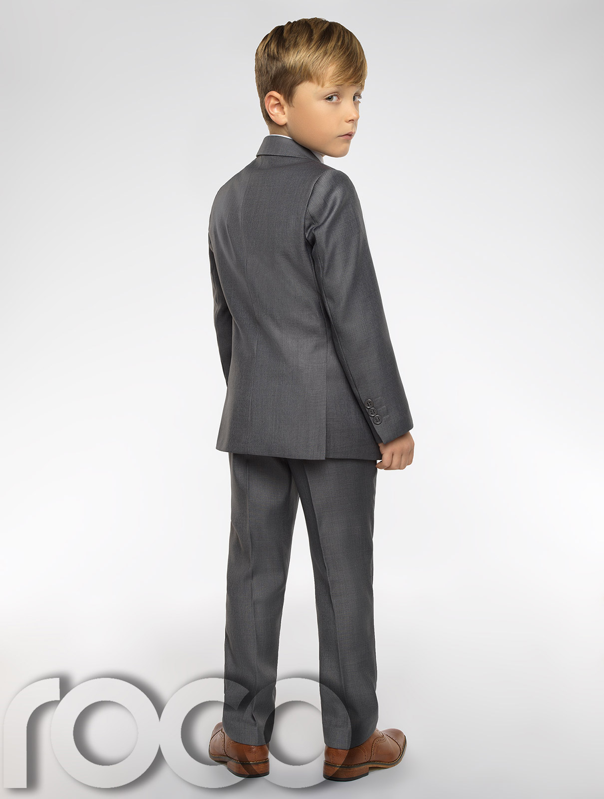 5742becbe353 Boys grey suit with check waistcoat. Sampson   Oliver waistcoat