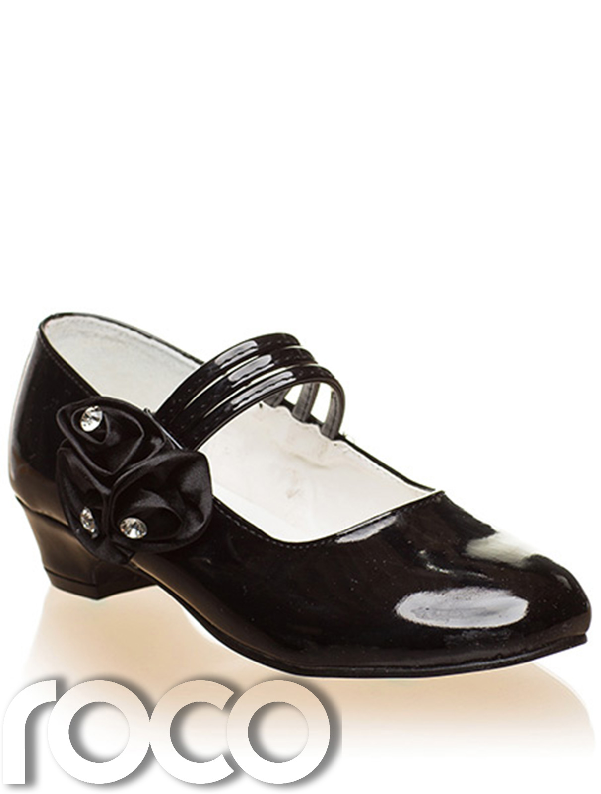 UK Kids Girls Shoes Strap Wedding Party Occasion Shoes White Black Shoes Size