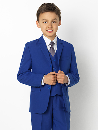 6 Piece Classic Kids Prom Suit with Tie and Hankie,1 to 15 Years Boys Pageboy Blue Suit